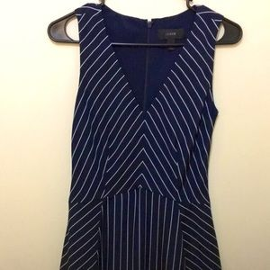 Plunging Neck Navy Striped Dress